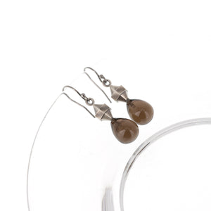 smoky-quartz-silver-double-pointed-hexagon-earrings
