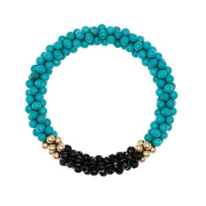Load image into Gallery viewer, turquoise-black-onyx-beaded-gemstone-bracelet