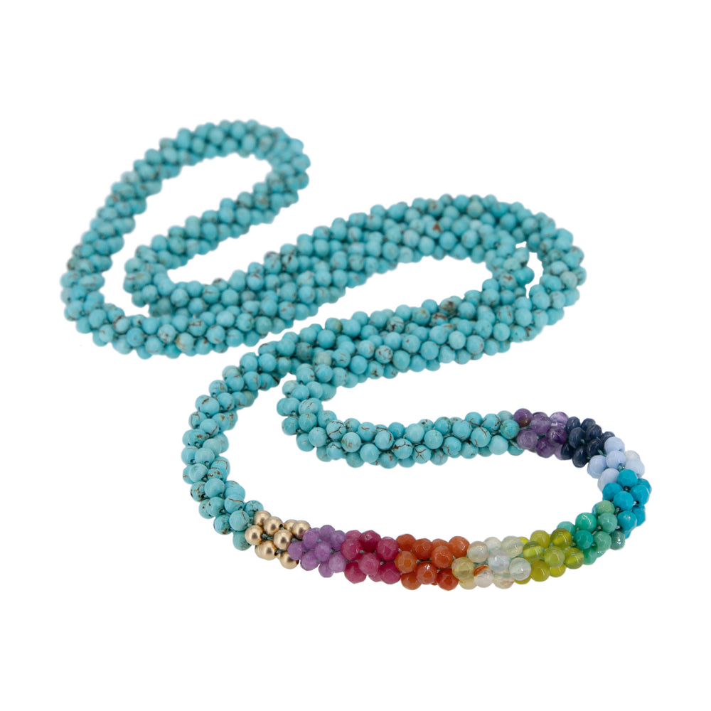 Load image into Gallery viewer, turquoise-rainbow-beaded-gemstone-necklace