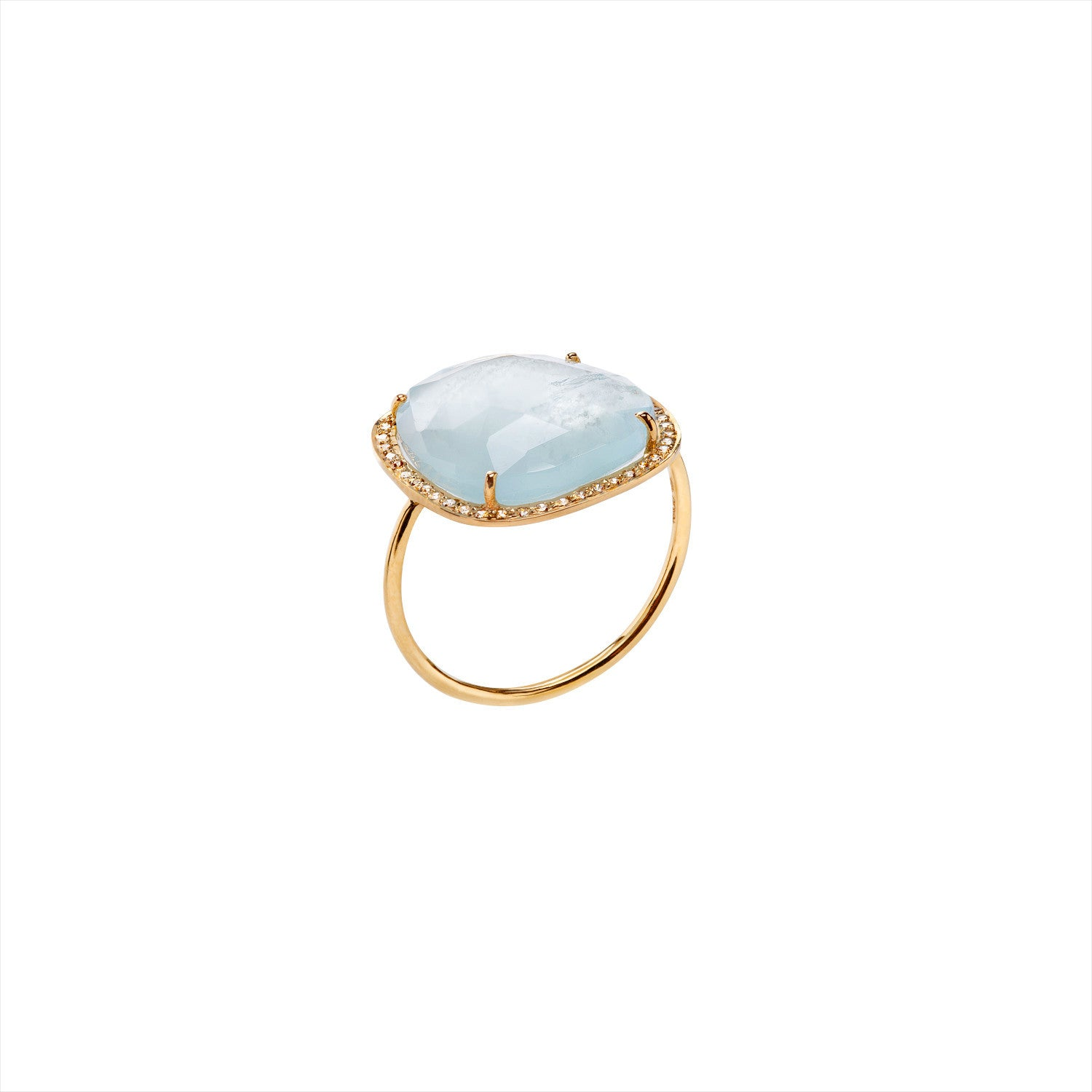Bague Femme HEAVEN, Or 18k, Aigue-marine, Diamants