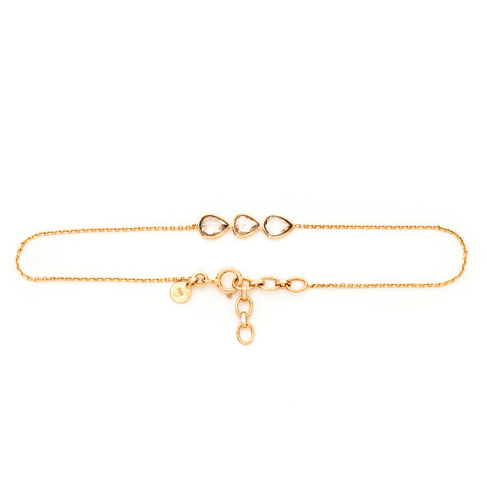 Bracelet Femme POLKI, Or 18k, 3 Diamants