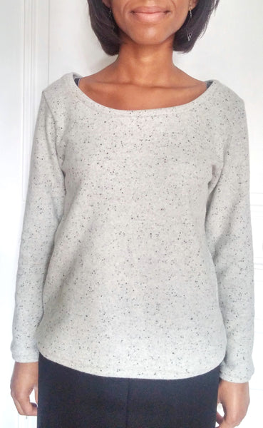 Couture d'un sweat en laine, col large