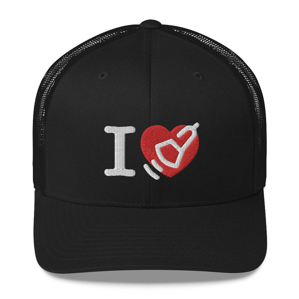 I Love Heart Ultrasound Research Trucker Cap