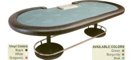 Poker Tables with Twin Pedestal Base Metal Legs and Foot Rail