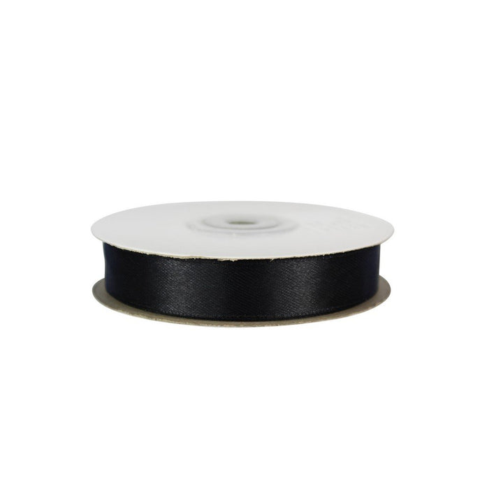 Black - 15mm x 25m - Satin Ribbon - Double Sided