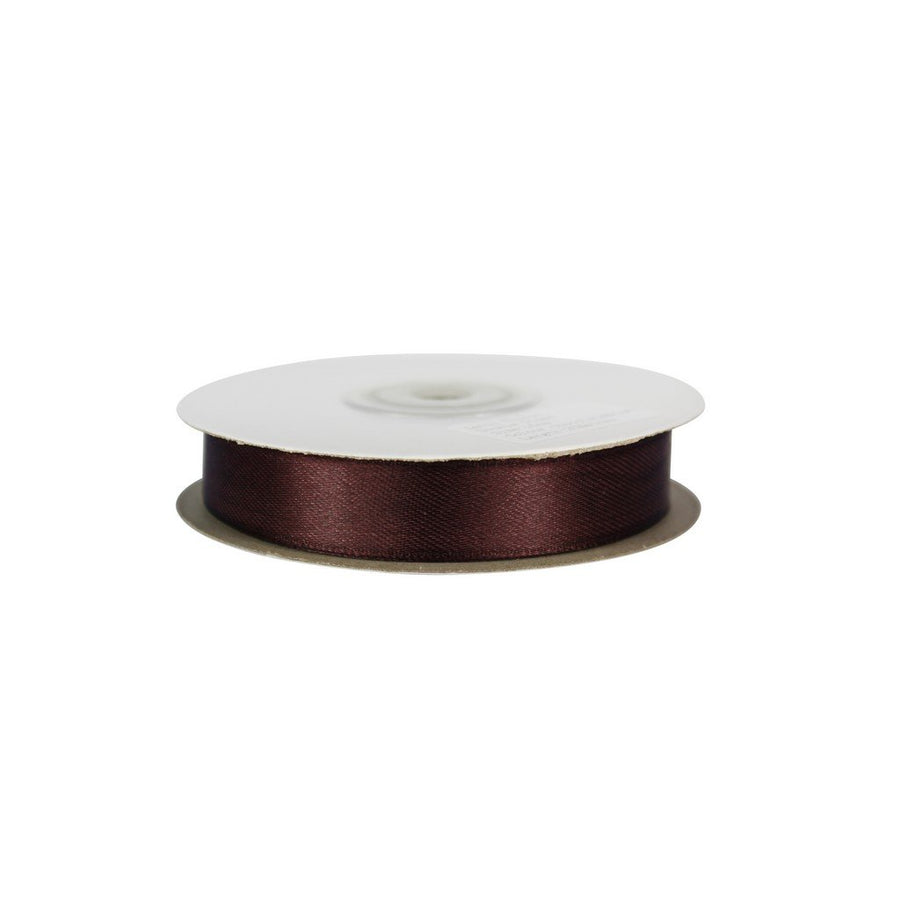 Chocolate Brown - 15mm x 25m - Satin Ribbon - Double Sided