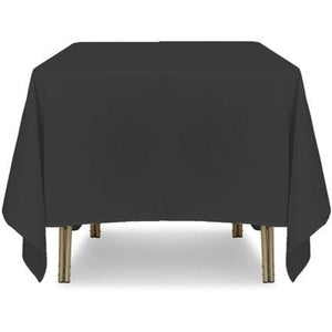 "Black Square Polyester Tablecloth - 90"" x 90"""