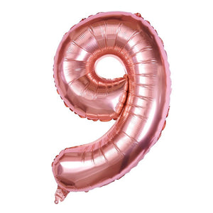 "Rose Gold - 34"" Foil Number Balloon - 9"
