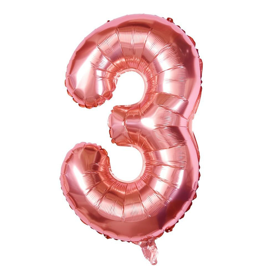 "Rose Gold - 34"" Foil Number Balloon - 3"