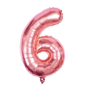 "Rose Gold - 34"" Foil Number Balloon - 6"