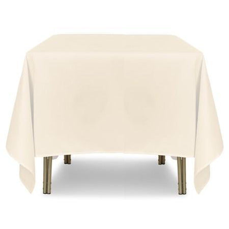 "Ivory Square Polyester Tablecloth - 90"" x 90"""