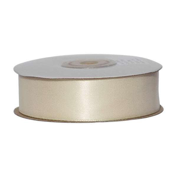 Ivory - 25mm x 25m - Satin Ribbon - Double Sided