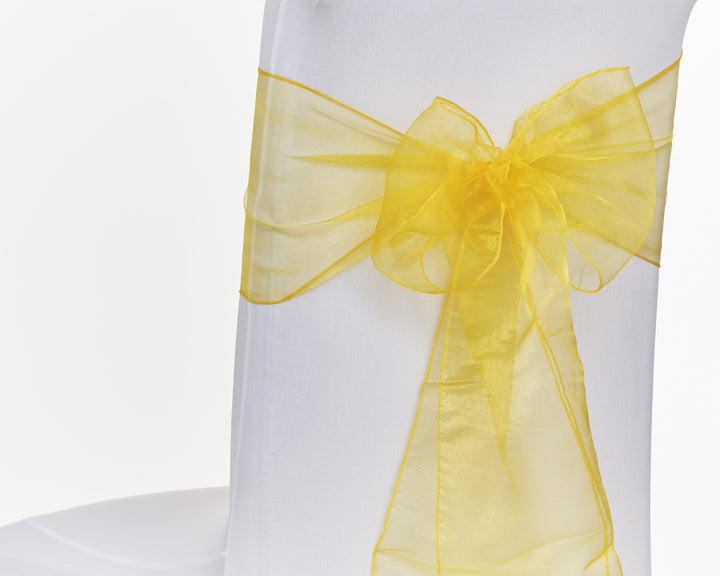 Gold Organza Sash Chair Bow