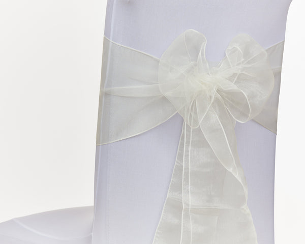 Ivory Organza Sash Chair Bow