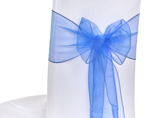 Royal Blue Organza Sash Chair Bow