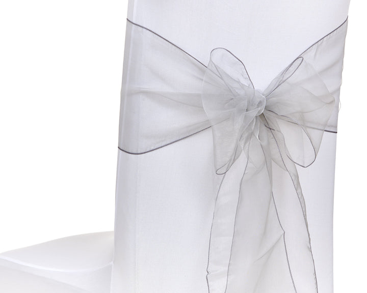 Silver Organza Sash Chair Bow