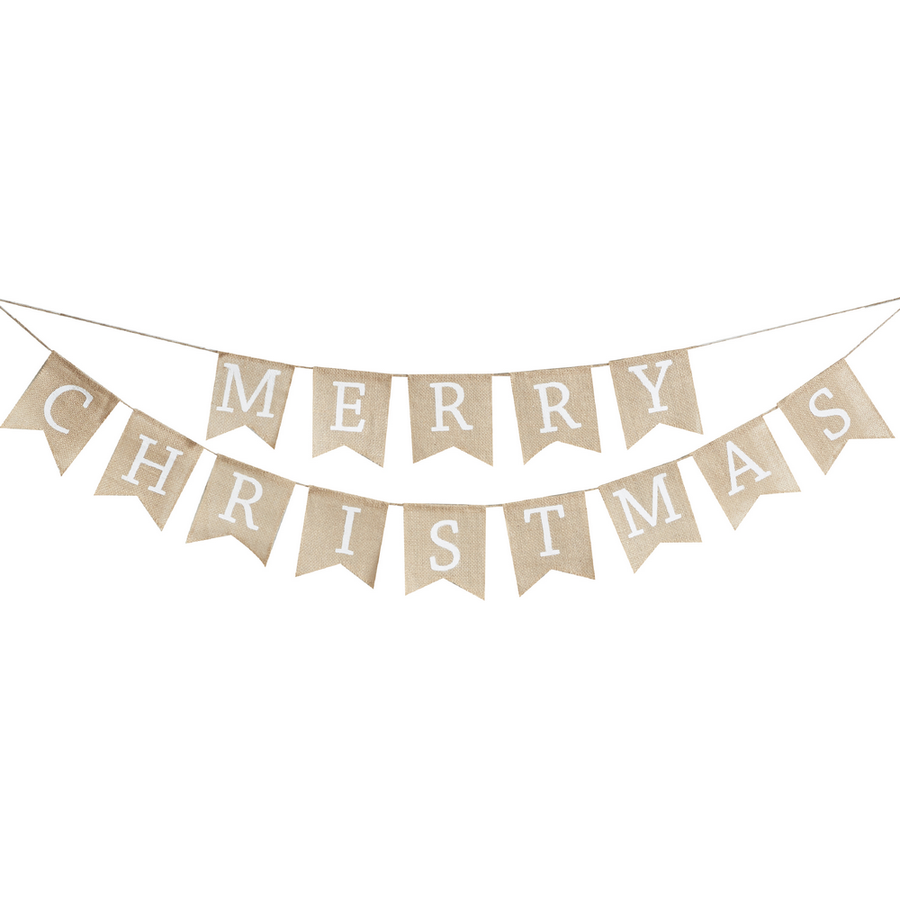 Merry Christmas Hessian Bunting