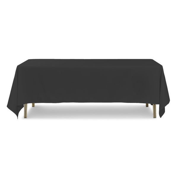 "Black Rectangle Polyester Tablecloth - 70"" x 108"""