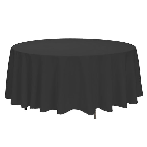 Black Round Polyester Tablecloth - 108""