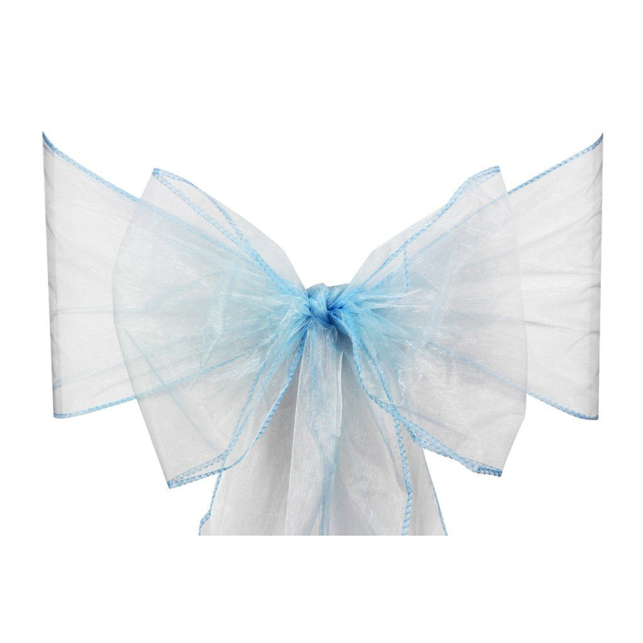Light Blue Organza Sash Chair Bow