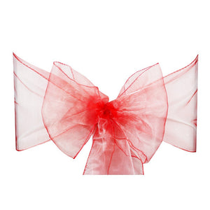 Coral Pink Organza Sash Chair Bow