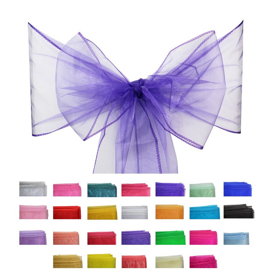Organza Sash - 10pcs - Dark Purple