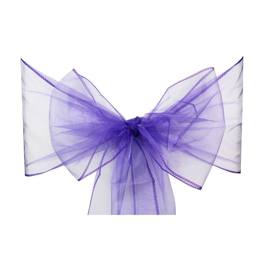 Dark Purple Organza Sash Chair Bow