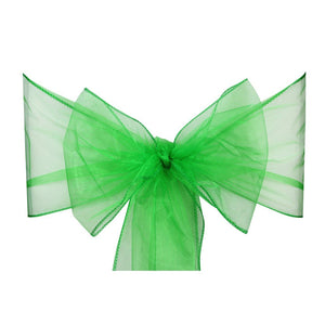 Emerald Green Organza Sash Chair Bow