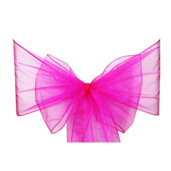 Hot Pink Organza Sash Chair Bow