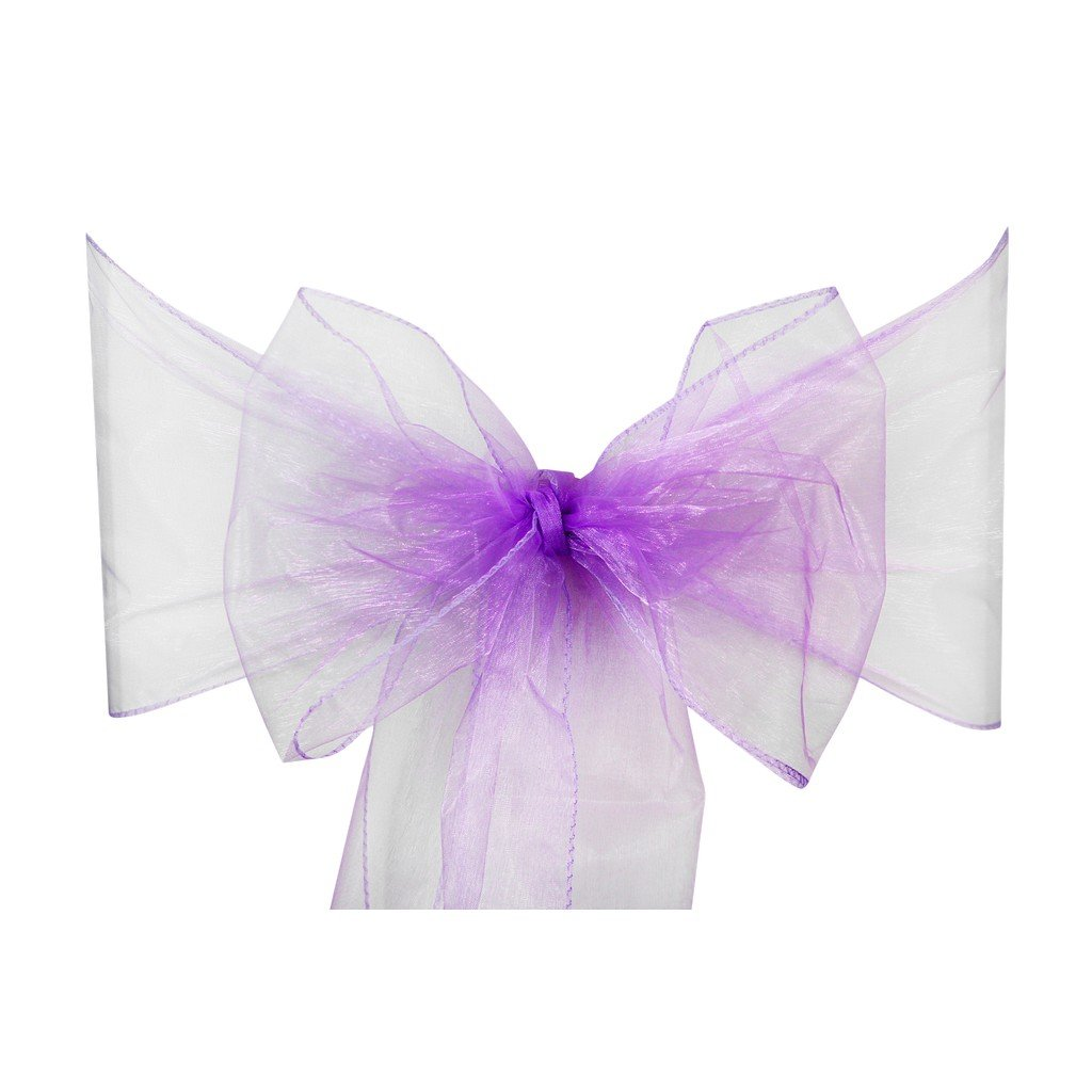 Light Purple Organza Sash Chair Bow