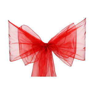 Red Organza Sash Chair Bow