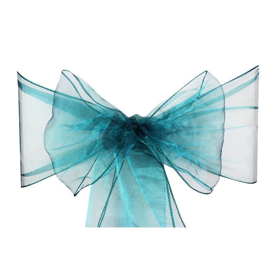 Turquoise Green Organza Sash Chair Bow