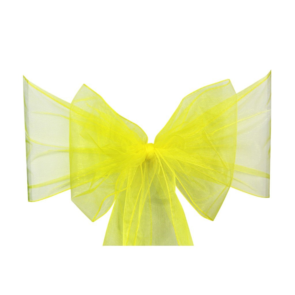 Yellow Organza Sash Chair Bow