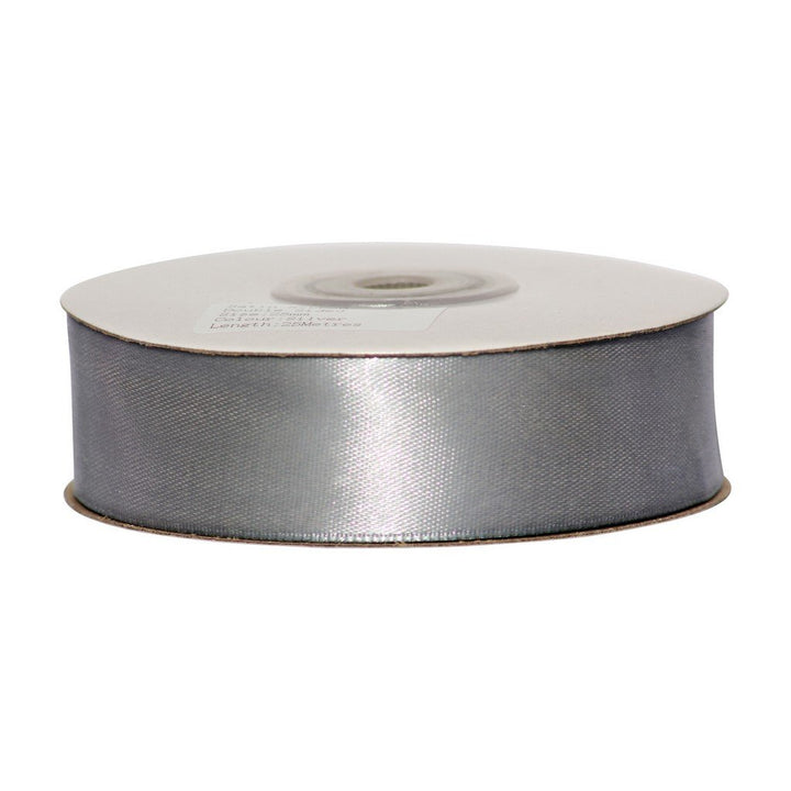 Silver - 25mm x 25m - Satin Ribbon - Double Sided