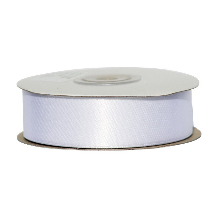 White - 25mm x 25m - Satin Ribbon - Double Sided