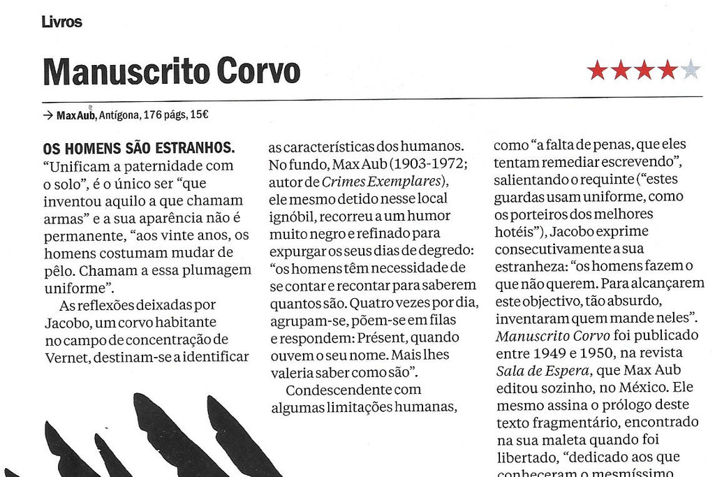 Manuscrito Corvo | Time Out Lisboa | Recensão de João Morales | ★★★★