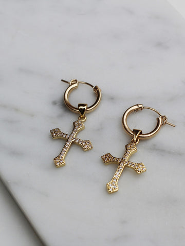 Royalty Cross Hoops