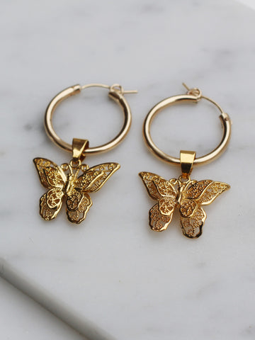 You Give Me Butterflies Hoops