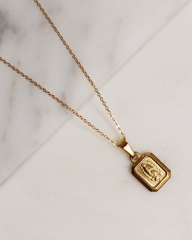 Mini Square Mother Mary Necklace