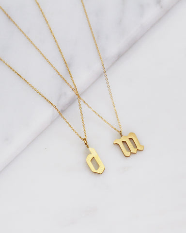 Gothic Font Lowercase Initial Necklace