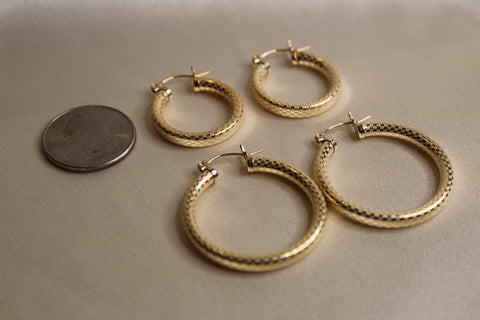Textured Angel Hoops