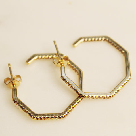 Hexagon CZ Hoops
