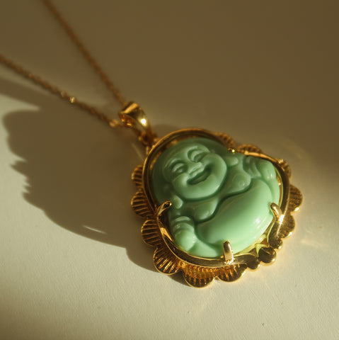 Happy Buddha Necklace (Light Green)