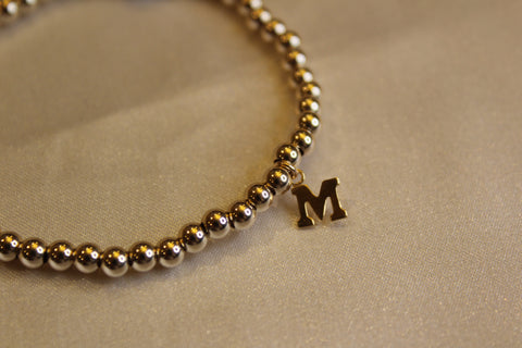 14k gold filled initial beaded bracelet
