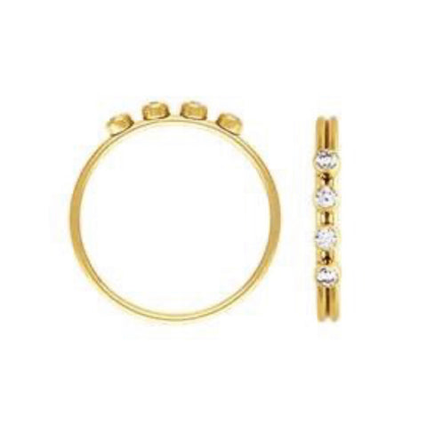4 CZ Stacking Ring