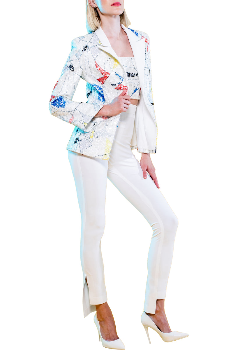 Abstract Sequin Blazer with White Lapel