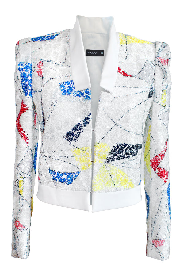 LMOMO Abstract Sequin Cropped Jacket