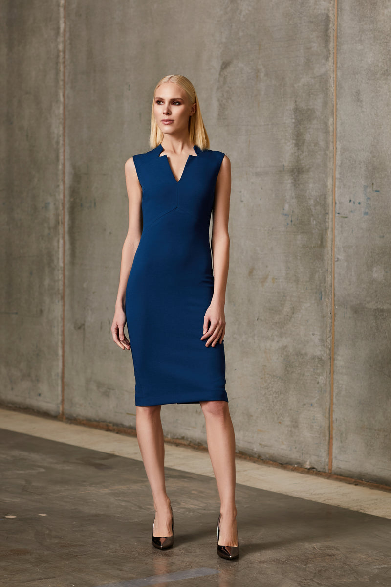 LMOMO Sleeveless Notched Collar Pencil Dress