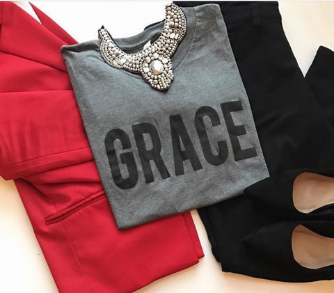 Grace Grey/White Crew Neck T-Shirt
