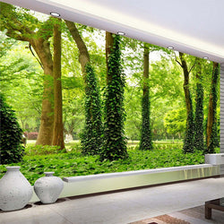 DIY 3D Wall Murals Green Forest Trees